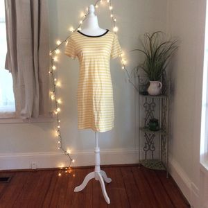 Old Navy Yellow Striped Cotton Dress Blue Accents